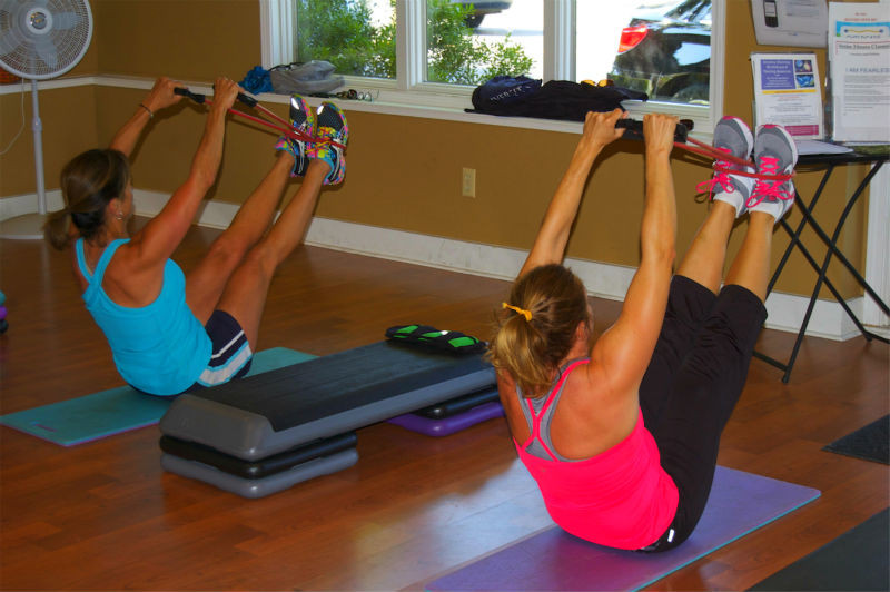 Abdominals are worked throughout the session